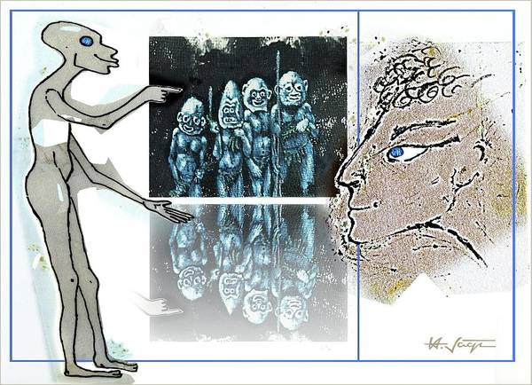 Caricature Mixed Media - Tribalism by Hartmut Jager