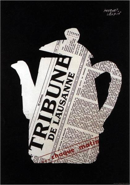 Tea Pot Wall Art - Mixed Media - Tribune - De Lausanne - Vintage Newspaper Advertising Poster by Studio Grafiikka