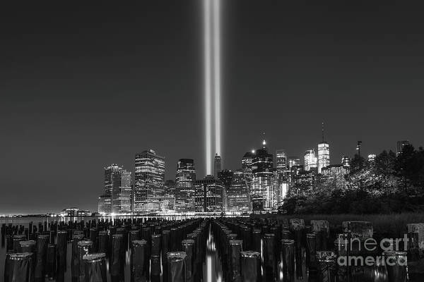 Wall Art - Photograph - Tribute In Light From Brooklyn Pier Bw by Michael Ver Sprill