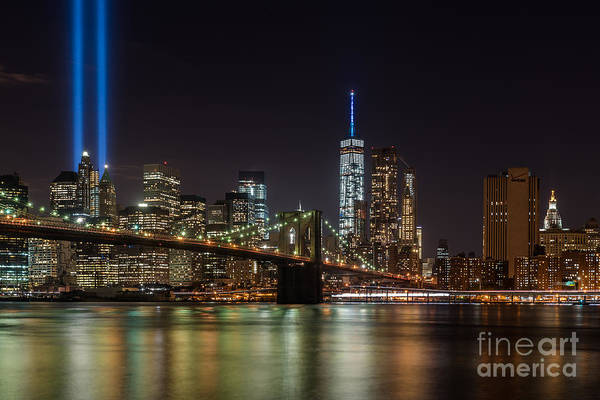 Photograph - Tribute In Lights Over The Brooklyn Bridge by Alissa Beth Photography