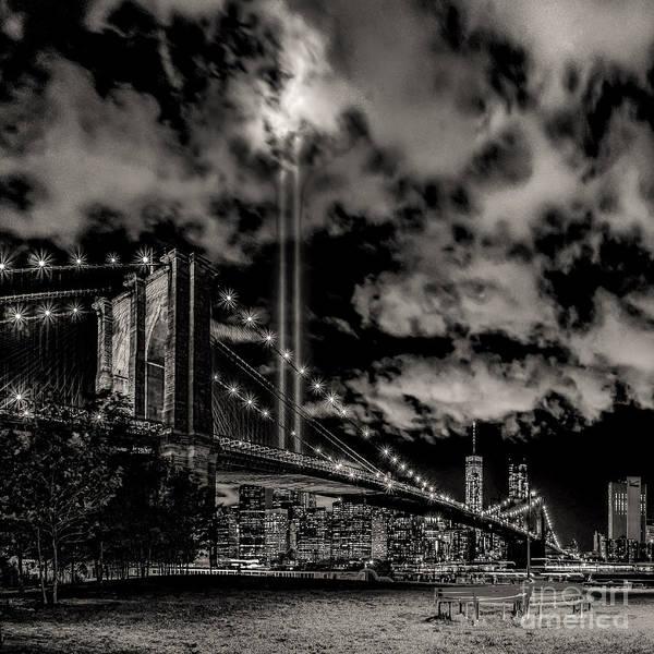 Photograph - Tribute Light By Brooklyn -bw by Nick Zelinsky