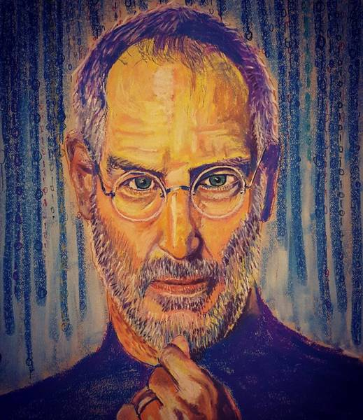 Pastel - Tribute To A Great Mind Steve Jobs by Adekunle Ogunade