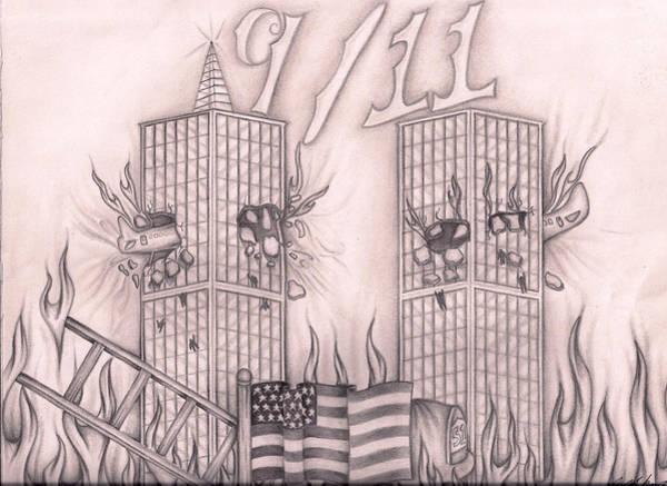 Twin Towers Drawing - tribute to New York by Jason Mikrut