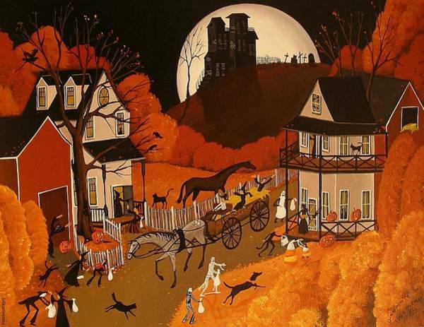 Neighborhood Painting - Trick Or Treat 2010 - A Folkartmama Original - Folk Art by Debbie Criswell