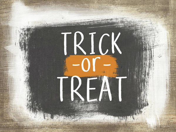 Country Living Painting - Trick Or Treat Sign- Art By Linda Woods by Linda Woods
