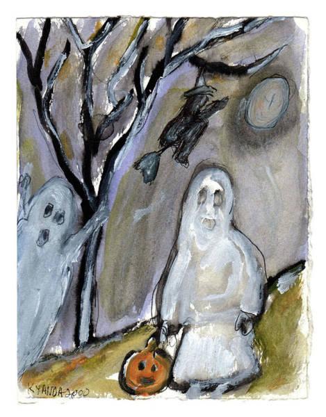 Painting - Trick Or Treating Ghosts by Katt Yanda