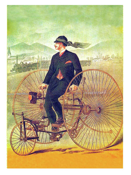 Vintage Train Painting - Tricycle Travel by Long Shot
