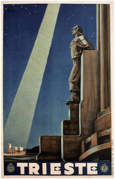 Statue Mixed Media - Trieste, Italy - View Of The Statue Of A Man - Retro Travel Poster - Vintage Poster by Studio Grafiikka