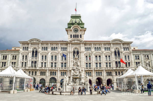 Photograph - Trieste Piazza Unita Italia Friuli City Hall Fountain Canvas Italy by Luca Lorenzelli