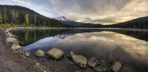 Photograph - Trillium Lake Panorama by Mark Kiver