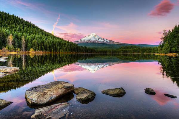 Mount Hood Photograph - Trillium Lake Reflection by Ian Stotesbury