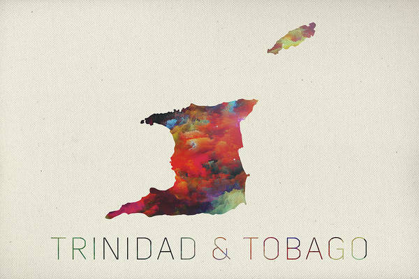 Trinidad Wall Art - Mixed Media - Trinidad And Tobago Watercolor Map by Design Turnpike