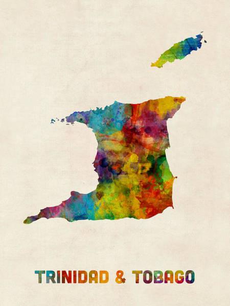 South America Digital Art - Trinidad And Tobago Watercolor Map by Michael Tompsett
