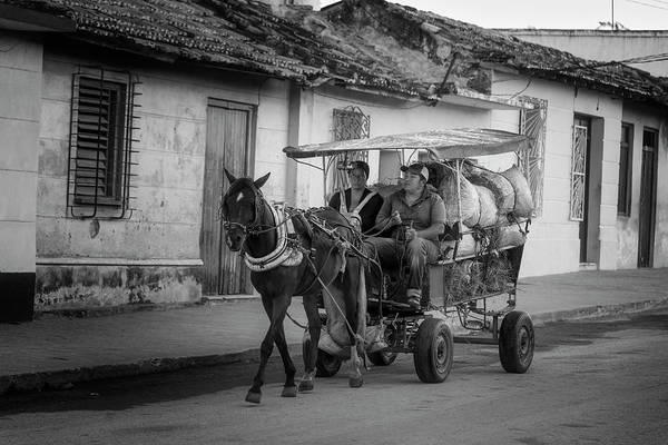Wall Art - Photograph - Trinidad Cuba Hay Cart Bw by Joan Carroll