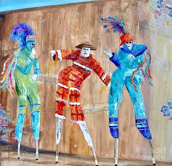 Mojo Painting - Trinidad Moko Jumbies by Karen Evans