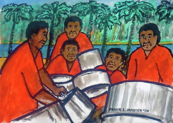 Painting - Trinidad Tobago Pan Band by Frank Hunter