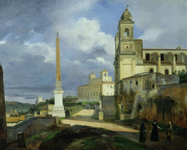 Shadow And Light Painting - Trinita Dei Monti And The Villa Medici In Rome by Francois Marius Granet