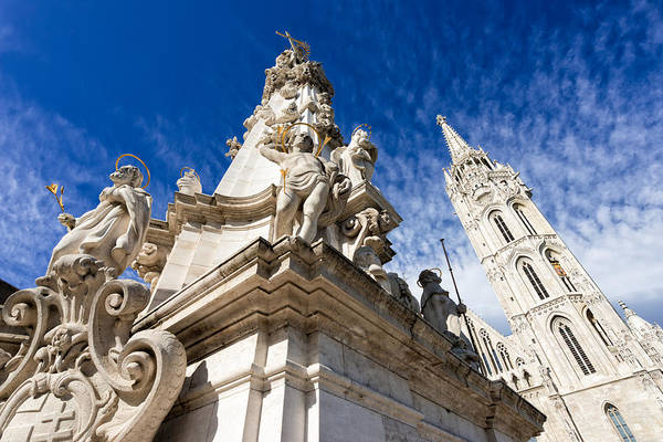 Photograph - Trinity Column And Matthias Church Budapest by Matthias Hauser