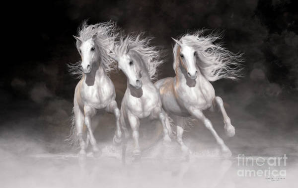 White Horse Digital Art - Trinity Horses Neutrals by Shanina Conway