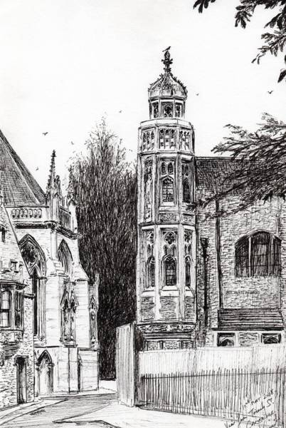 Great Britain Drawing - Trinity Street Cambridge by Vincent Alexander Booth