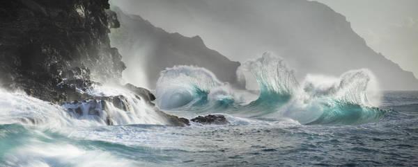 Queens Bath Photograph - Trinity Of Fantail Waves Kauai Napali Coast Hawaii Beach by Sun Gallery Photography Lewis Carlyle