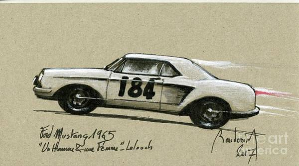 Le Mans 24 Painting - Trintignant's Mustang, A Movie Hero #1 by Alain Baudouin