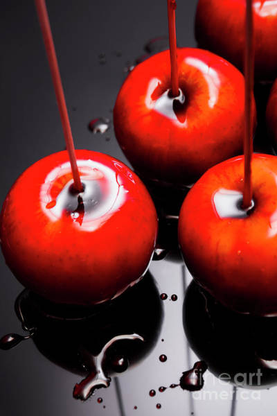Glazed Wall Art - Photograph - Trio Of Bright Red Home Made Candy Apples by Jorgo Photography - Wall Art Gallery