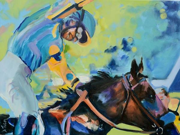 Thoroughbred Racing Wall Art - Painting - Triple Crown Champion American Pharoah by Donna Tuten