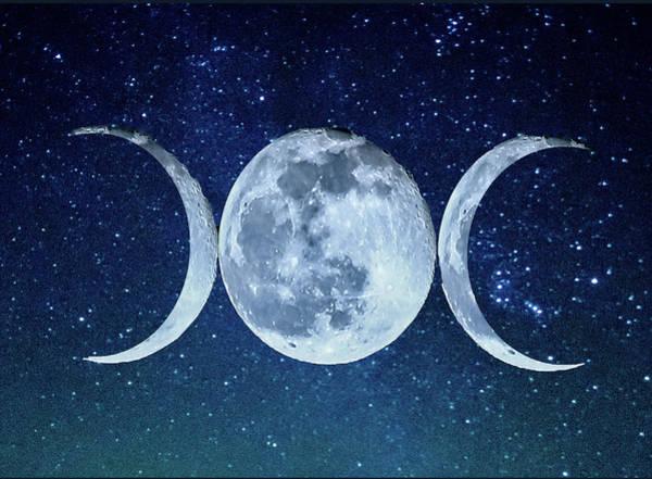 Crone Wall Art - Photograph - Triple Moon Milkyway by Paula OMalley