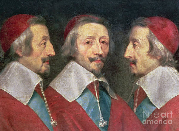 Mustache Painting - Triple Portrait Of The Head Of Richelieu by Philippe de Champaigne