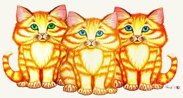 Orange Tabby Drawing - Triplets by Nick Gustafson