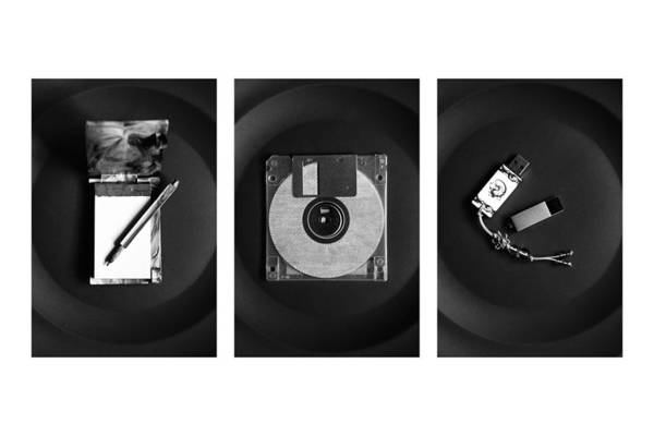 Floppy Disk Photograph - Triptych With Pen, Notebook, Floppy Disk And Usb Flash Drive by Ekaterina Ufimtseva