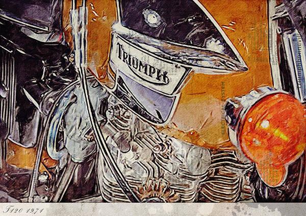 Parallels Wall Art - Digital Art - Triumph Bonneville T120 1971 by Yurdaer Bes