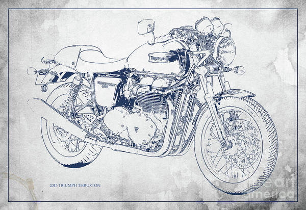Wall Art - Digital Art - Triumph Motorcycle Original Blueprint Blue And Grey. by Drawspots Illustrations