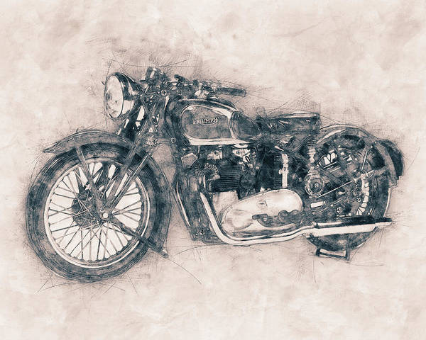 Wall Art - Mixed Media - Triumph Speed Twin - 1937 - Vintage Motorcycle Poster - Automotive Art by Studio Grafiikka