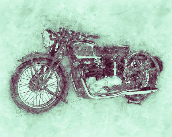 Wall Art - Mixed Media - Triumph Speed Twin 3 - 1937 - Vintage Motorcycle Poster - Automotive Art by Studio Grafiikka