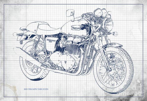Wall Art - Digital Art - Triumph Thruxton 2015, Mototcycle Blueprint, White Background by Drawspots Illustrations