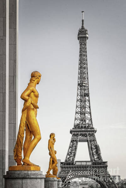 Square Tower Photograph - Trocadero Statues by Delphimages Photo Creations