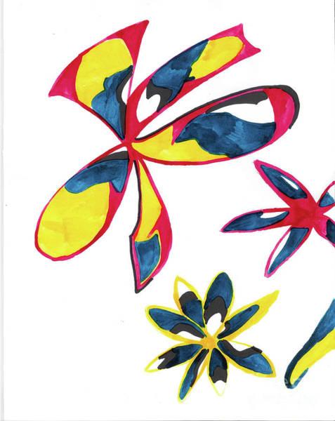 Mixed Media - Trois Fleurs by Mary Mikawoz