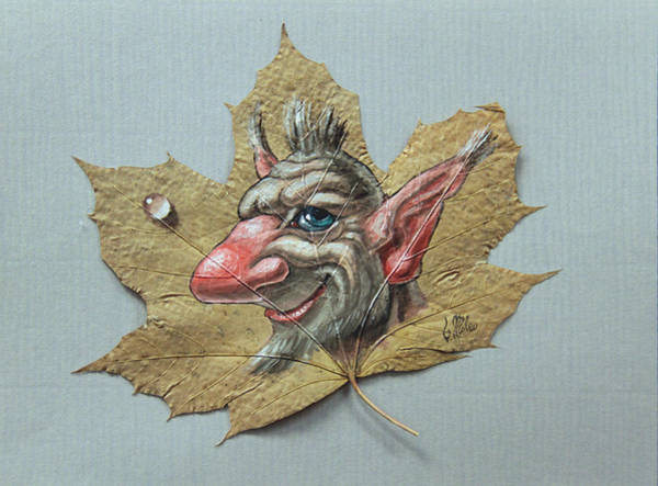 Painting - Troll On Maple Leaf by Victor Molev