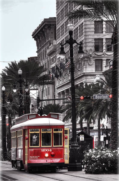 Bourbon Street Wall Art - Photograph - Trolley On Bourbon And Canal  by Tammy Wetzel