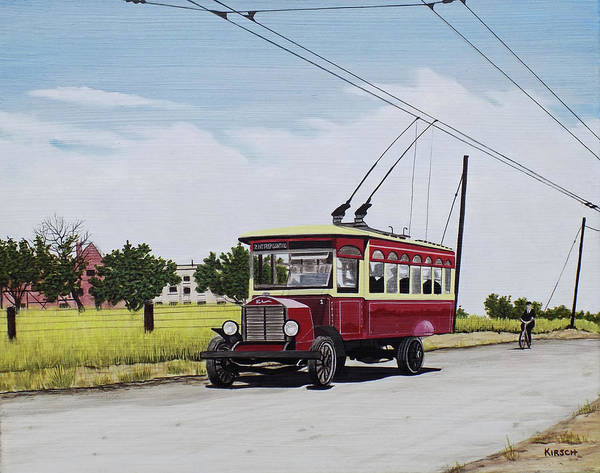 Painting - Trolley On Mt. Pleasant Road Toronto 1922 by Kenneth M Kirsch