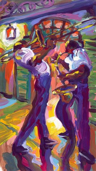 Wall Art - Painting - Trombone And Saxophone by Saundra Bolen Samuel
