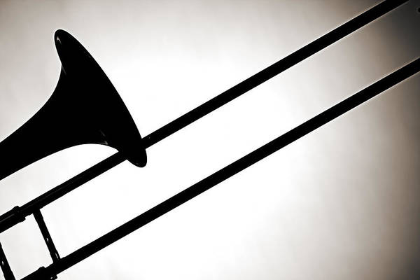 Wall Art - Photograph - Trombone Silhouette Isolated by M K Miller