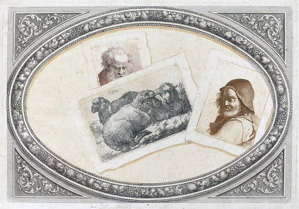Painting - Trompe L'oeil, Prints With Men And Sheep by Francesco Londonio