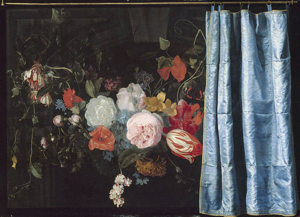 Wall Art - Painting - Trompe-loeil Still Life With A Flower Garland And A Curtain by Adriaen Van Der Spelt