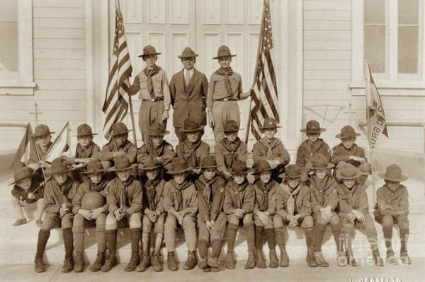 Photograph - Troop 2 Monterey Boy Scouts Of The Monterey Circa 1920 by California Views Archives Mr Pat Hathaway Archives