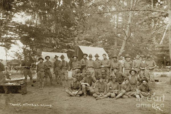 Photograph - Troop C, First Squadron Of Cavalry Of The California National Guard 1910 by California Views Archives Mr Pat Hathaway Archives