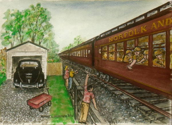 Painting - Troop Train At Sardinia Ohio 1943 by Frank Hunter