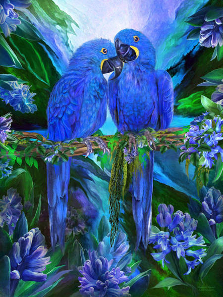Wall Art - Mixed Media - Tropic Spirits - Hyacinth Macaws by Carol Cavalaris